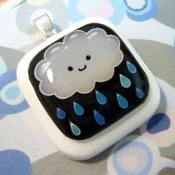 Happy Rain Cloud Resin Pendant